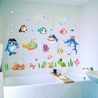 Autocollant mural bulle de poisson de mer bleu  dessin anime pour chambres denfants  fresques de decoration de la maison