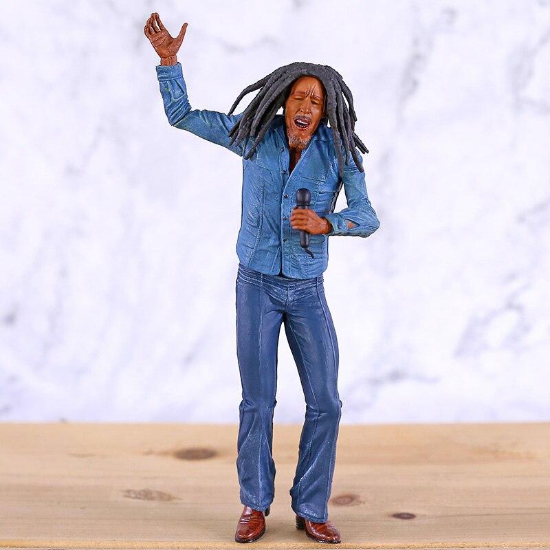 Bob marley figura de ação brinquedo lendas jamaica cantor bob marley com microfone exibição coleção boneca presente aniversário