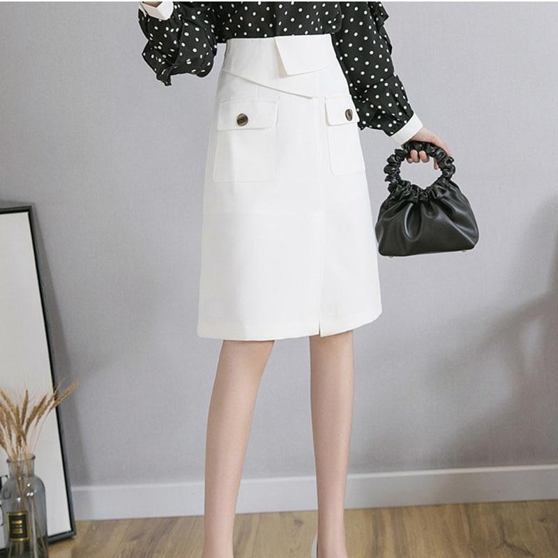 Fashion Half-Length Skirt Solid Color Women's 2021 New High-Waisted Spring Summer Korean Version Temperament Women Skirt NBH113
