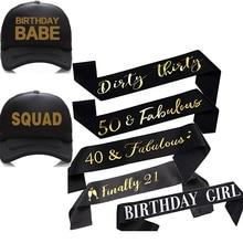 Schließlich 21 Schmutzig Dreißig 40 50 Fabulous Geburtstag mädchen schärpe Trucker hut Glücklich 16th 18th 21st 30th 40th 50th Party dekoration geschenk