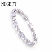 NHGBFT New Square and round Cubic Zirconia Bracelets Women Charm CZ Crystal Female Bracelets Bangles Bride Wedding Jewelry