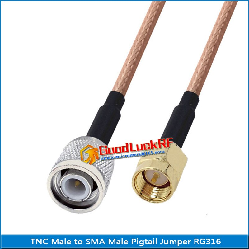 1x pcs q9 bnc male to rp sma male plug pigtail jumper rg316 extend cable rf connector q9 to rp sma rpsma dual male low loss 1X Pcs TNC Male to SMA Male Plug Pigtail Jumper RG316 RF Connector Extend cable copper TNC to SMA