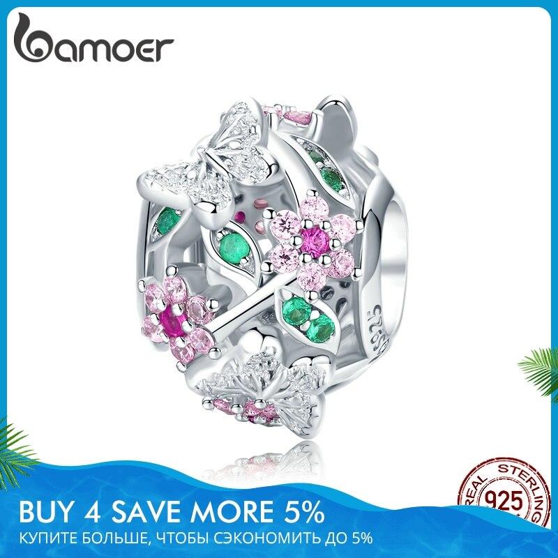 Bamoer ajouré fleur breloque ajustement Original serpent Bracelets 925 argent Sterling papillon et fleur perles bijoux à bricoler soi-même BSC116