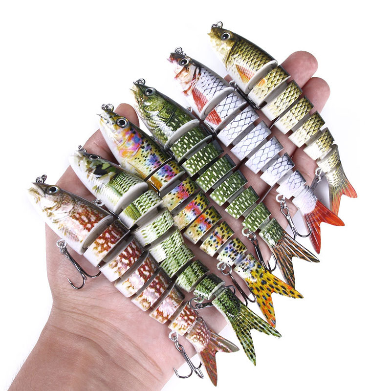 14cm Electric Lures Robotic Swimming Fishing USB Rechargeable LED Light 4-Section Wobbler Multi Join