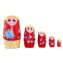 5 pièces/ensemble en bois russe poupées gigognes tresse fille russie traditionnelle Matryoshka poupées Matrioska jouet cadeau de noël jouets pour les filles nouveau