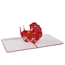 Nouveau-né nourrissons poussette carte postale baptême et baptême bébé douche 3D créatif Pop Up carte de voeux pour Souvenirs