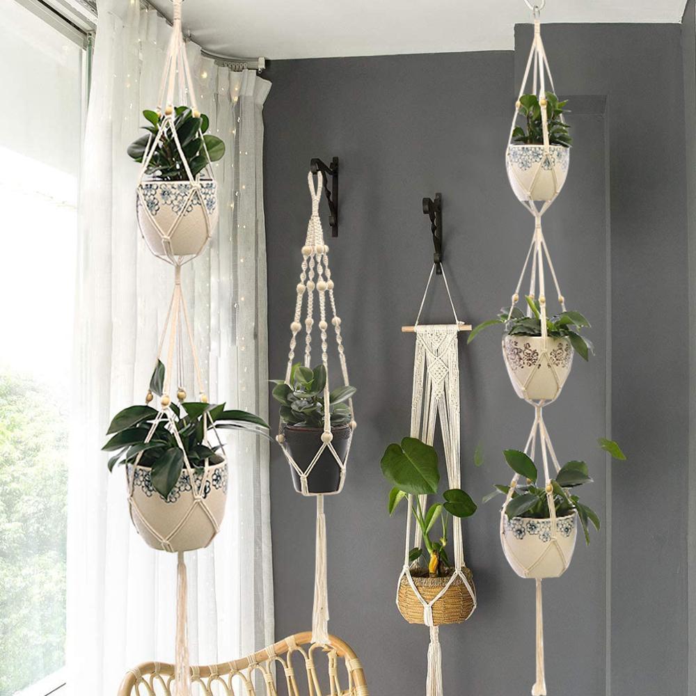 Macramé para planta colgante, soporte de macramé para planta, cesta colgante para...