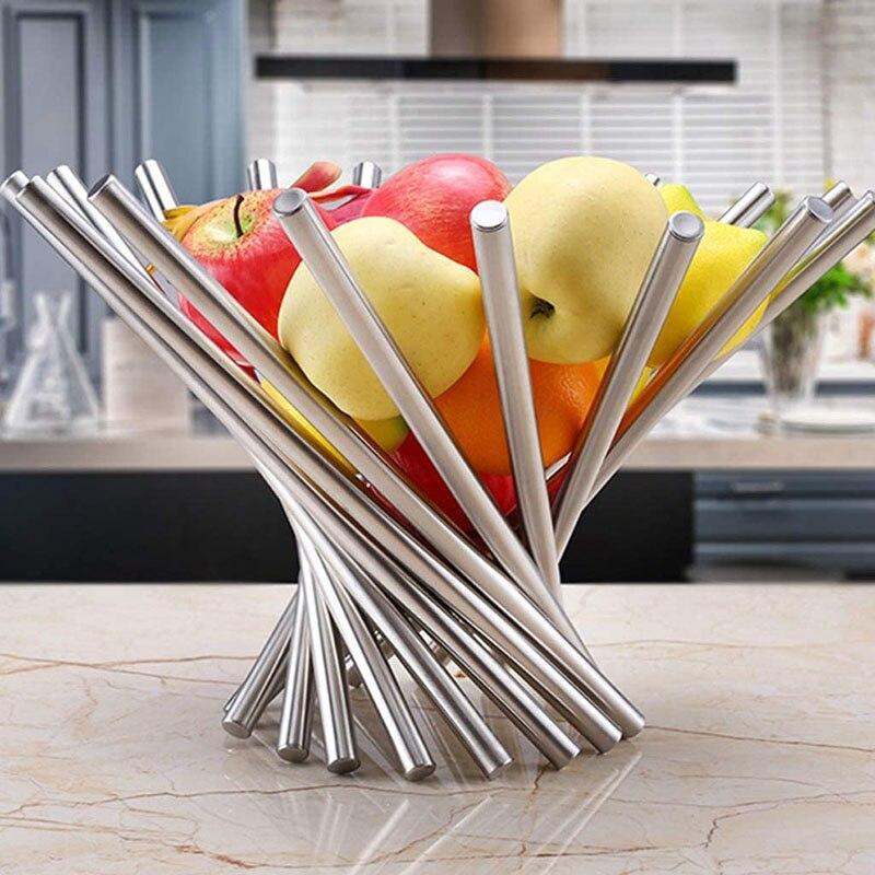 SHZQ تخزين أضعاف فاكهة من الفولاذ المقاوم للصدأ وعاء سلة اكسسوارات المطبخ المنزلية تدوير مصفاة لوحة الموضة صينية