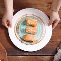 retro simple japanese style tableware ceramic round plate snack spaghetti salad plate sushi dish restaurant household utensils