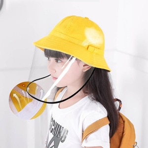 Anti Pollution Protective Cotton Hat With Transparent Cover Anti-fog SunHat  Kids Anti-UV Buckets Hat Bow-knot Cap of Children