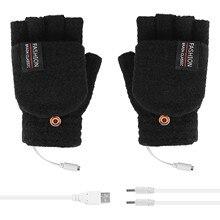 1 paire femmes filles belle hiver chaud gants ordinateur portable femmes hommes USB chauffé mitaine complet et demi doigt hiver chaud tricot gants à main