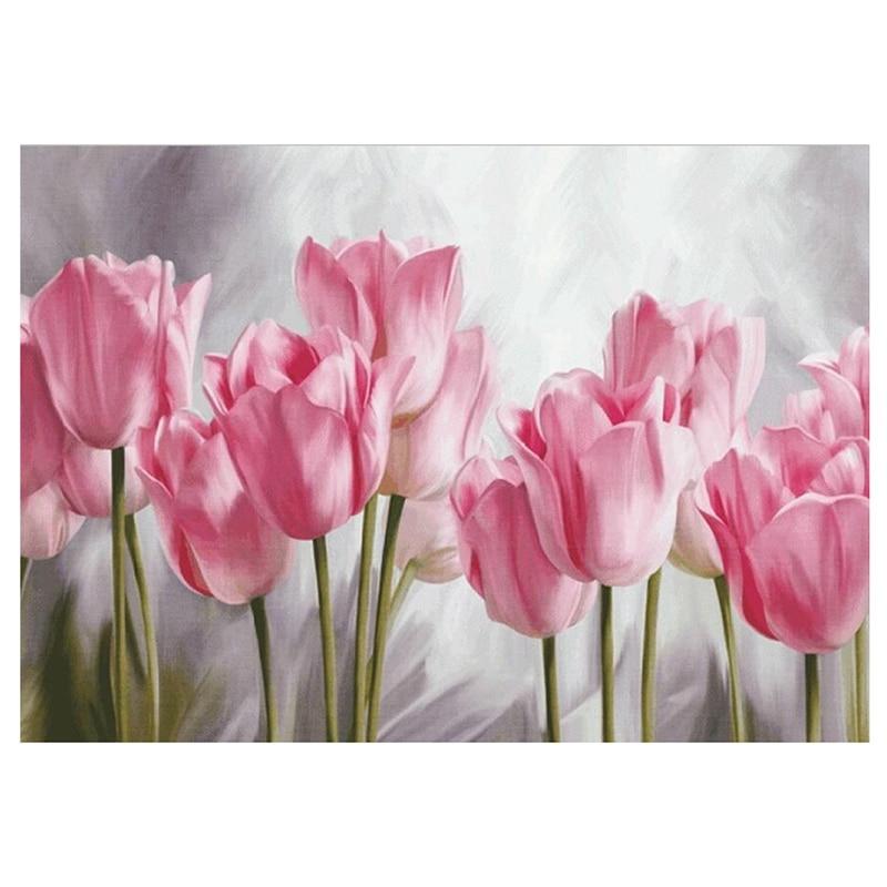 Cuadro Completo de diamantes con tulipanes rosas, Serie de flores bordadas de diamantes Diy, pintura decorativa para el salón, un buen regalo para T