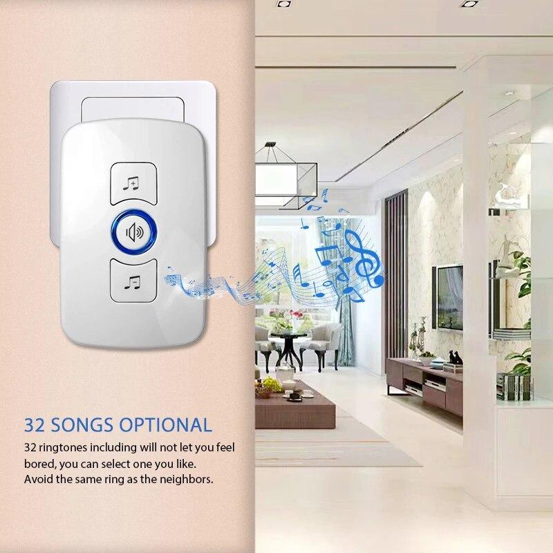 Home Security Smart Doorbell M525 Battery Powerd Door Button Welcome Wireless Doorbell 57 Chime enlarge