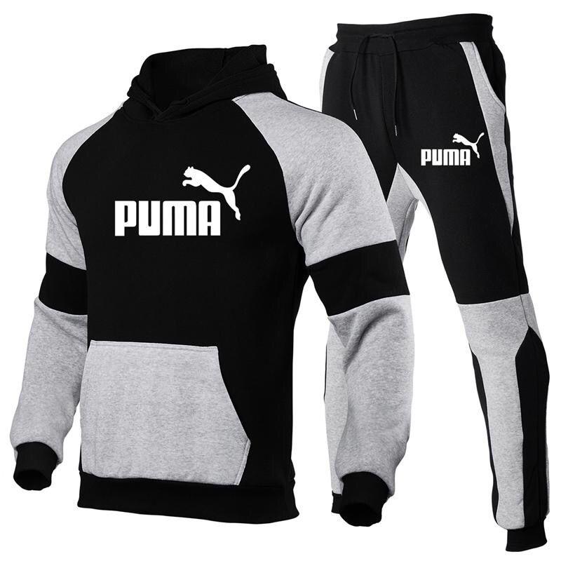 Novo outono e inverno terno masculino moletom com capuz + calças puma esportes terno casual camisa esportiva faixa terno 2021 marca de algodão