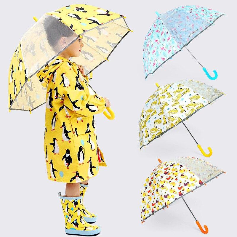 Sombrilla de dibujos animados encantadores para niños, paraguas para niños y niñas con mango largo, paraguas bonito creativo, paraguas semiautomático para estudiantes