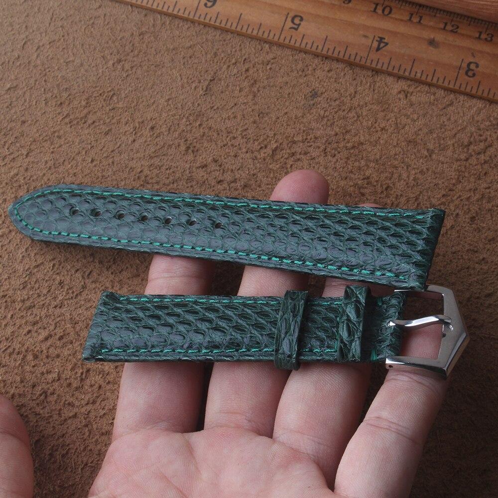 20mm 21mm verde cuero genuino Piel de lagartija correa de reloj para hombres marca correa cinturón hebilla de acero inoxidable estilo de moda
