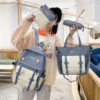 4pcs sets school bag for teenager girl women backpack casual student new kawaii canvas cute college ladies badge school backpack