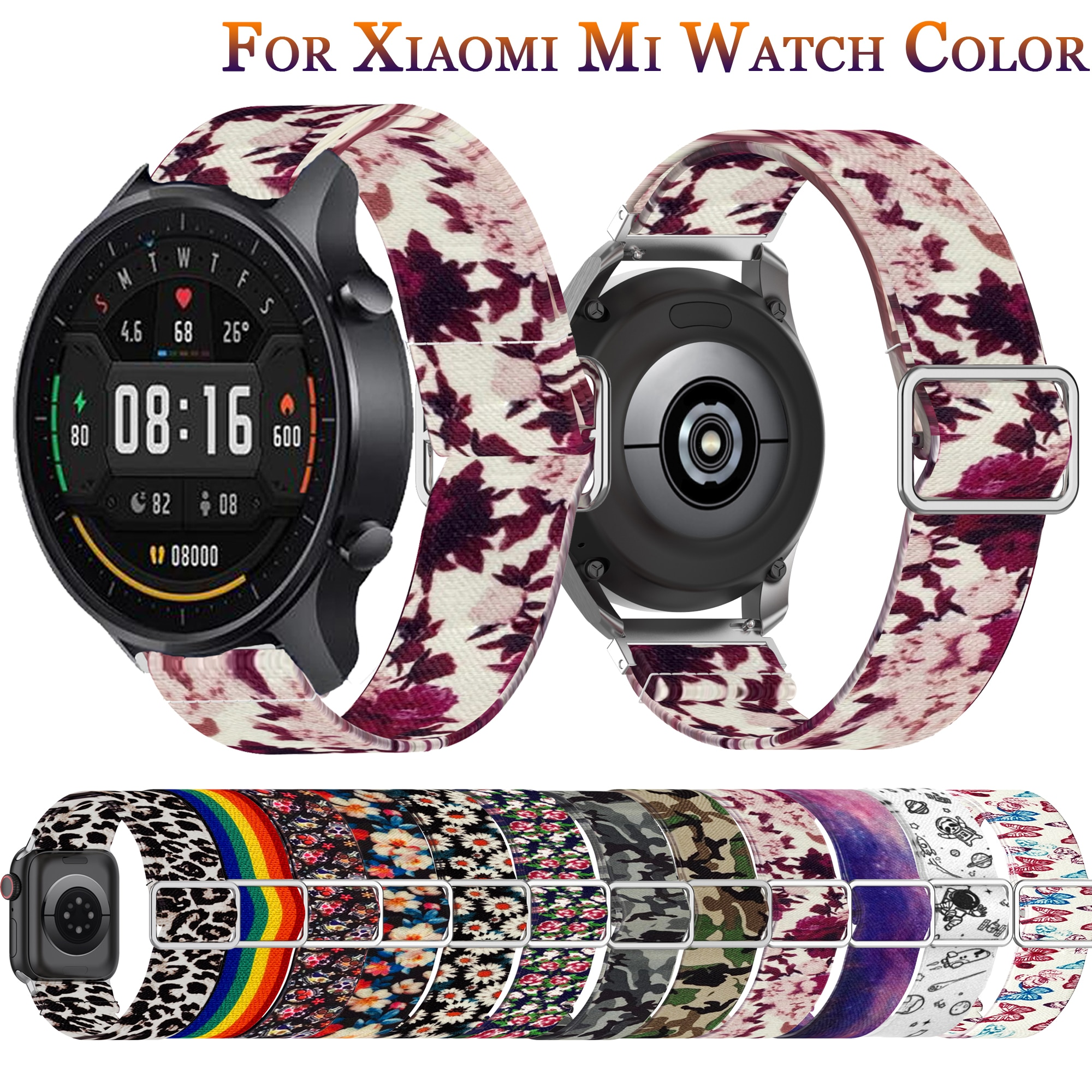 yayuu 22mm universal top quality vertical nylon watchband sports strap adjustable wristband replacement smart watch straps For Xiaomi Color Watch Mi Sports Smart Watch Color Nylon Sport Strap Replacement Watchband Wrist Bracelet 22mm Watch Band Correa