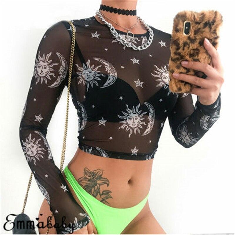 Sexy See Through T-shirt Women Graphic Transparent Mesh Tops Ladies Printed Sun Moon Star Black T Shirt Tees недорого