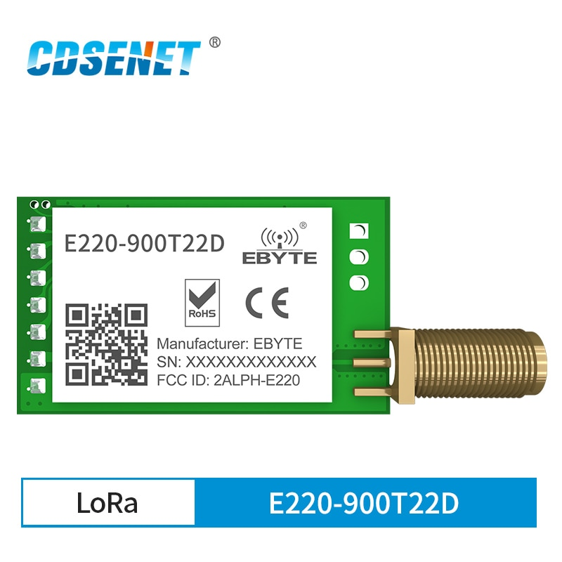 LLCC68 LoRa 868MHz 915MHz Wireless Module 22dBm Long Range 5km CDSENET E220-900T22D SMA-K UART RSSI Transmitter Receiver DIP