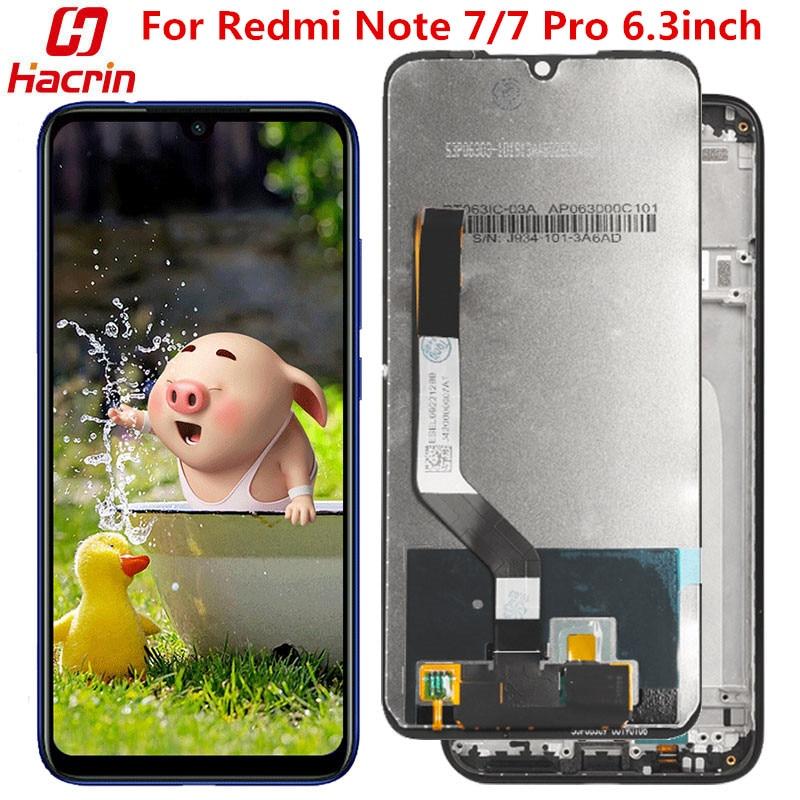 Para Xiaomi Redmi Note 7, pantalla LCD + pantalla táctil con marco, sin pantalla de píxeles muertos, repuesto para Redmi Note 7 7 Pro de 6,3 pulgadas