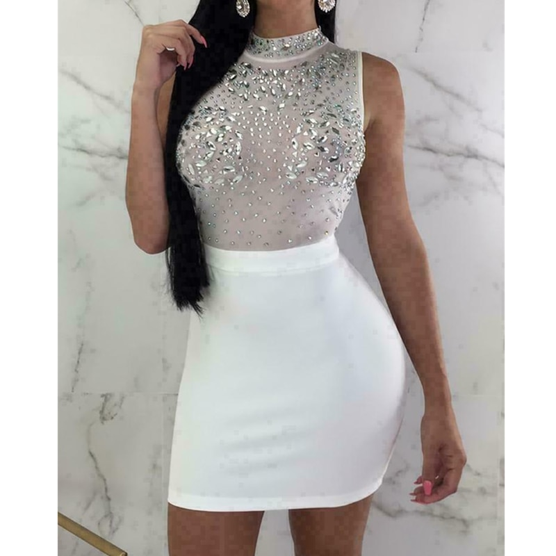 Sexy Women Evening Party Dress Bandage Bodycon Sleeveless Clubwear Ladies Summer Short Slim Fit Mini vestidos Dress Sundress women s bandage bodycon dress female skinny sleeveless short mini dress button strap solid party dresses
