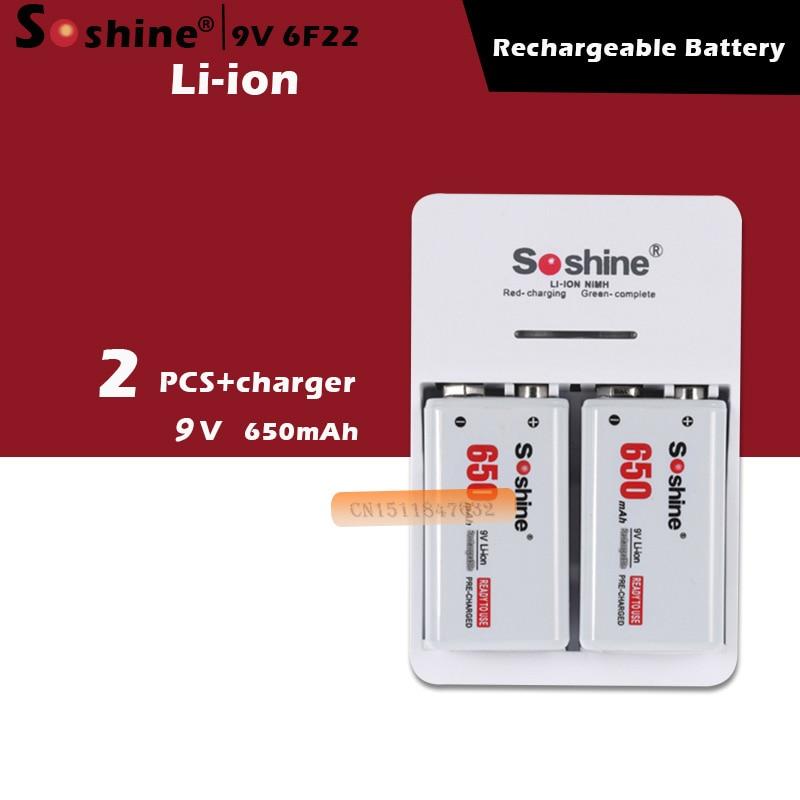 2 шт./компл. Soshine 9V 6F22 650mAh литий-ионный аккумулятор + 9V умное зарядное устройство со светодиодным индикатором