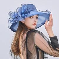 floral organza wide brim church kentucky derby fascinator lady tea party sun beach hat women elegant cap