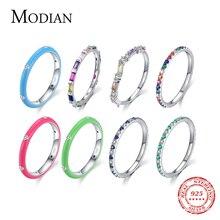 Modian 2021จริง925เงินสเตอร์ลิง Rainbow CZ แฟชั่นแหวนซ้อนกันได้แหวนเคลือบสำหรับผู้หญิงเครื่องประดับ Fine