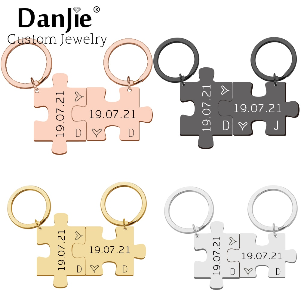 2pcs Personalized Puzzle Keychain Set Custom Date Initials Lovers Couples Boyfriend Girlfriend Key Ring Valentine's Day Gifts the lovers day gifts