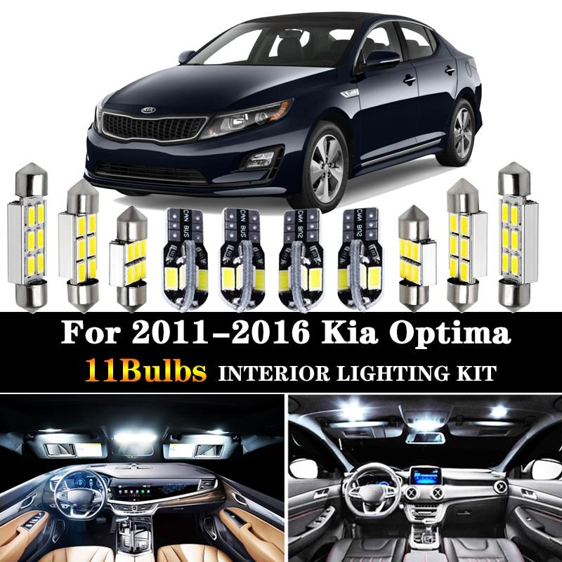 11 pces acessórios do carro branco interior lâmpadas led pacote kit para 2011-2016 kia optima t10 31mm 39mm mapa cúpula tronco lâmpada