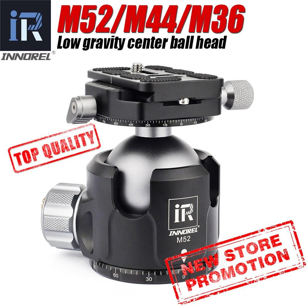 Low Center of Gravity 52mm 44mm 36mm tripod Ballhead Double U Notch ultra-low profile Damping setting CNC ball head heavy duty
