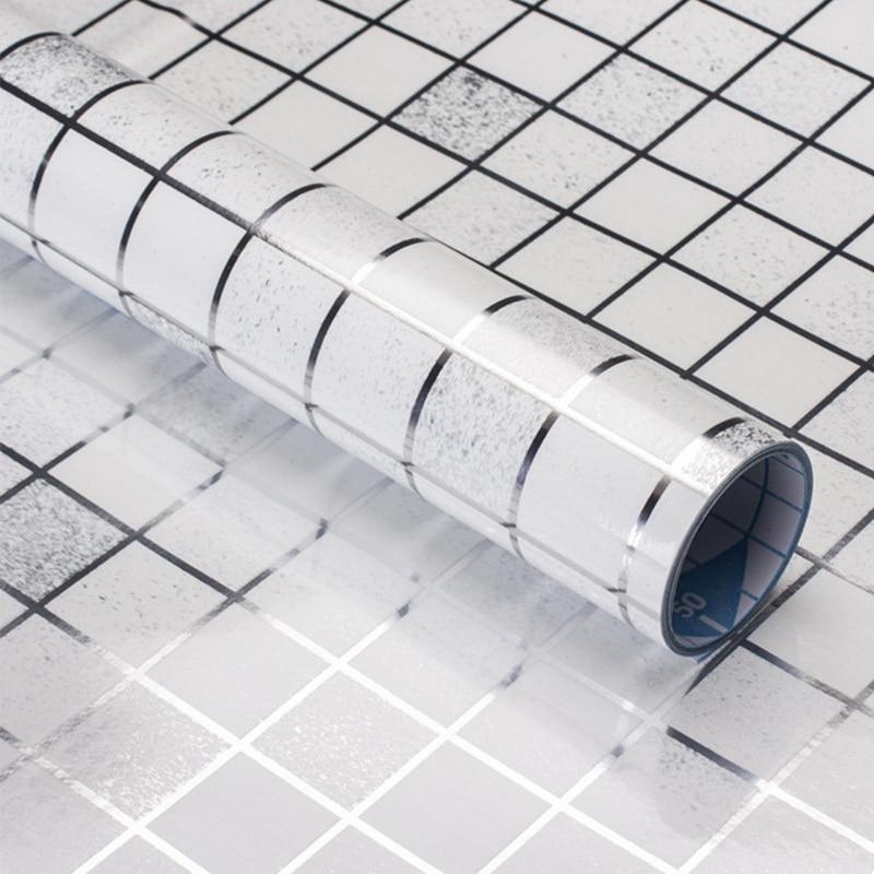 Waterproof Tiles Mosaic Wall Sticker Kitchen Bathroom Toilet Adhensive Anti Oil PET Wallpaper Wall Decors Heat Resistance