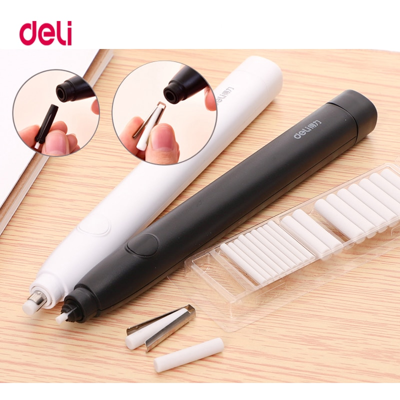 Deli Pencil Drawing Mechanical Electric Eraser Cute Kneaded  Erasers for Kids School Office Supplies Rubber Pencil Eraser Refill