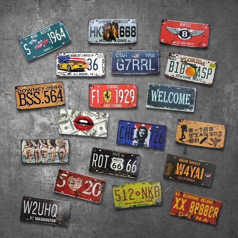 Автомобильная тарелка, американская винтажная металлическая жестяная вывеска, номерной знак автомобиля, табличка для номерного знака, плакат для бара, клуба, стены для гаража, дома, декорация, пластина для автомобиля