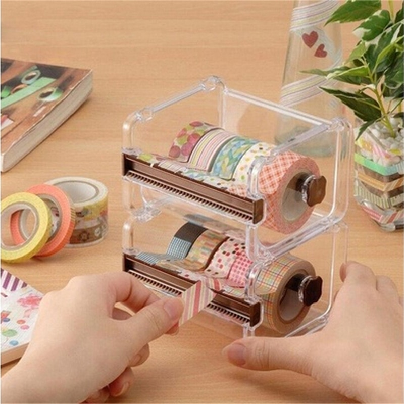 1 pc Japanese Stationery Masking Tape Cutter Washi Tape Storage Organizer Cutter Office Tape Dispens