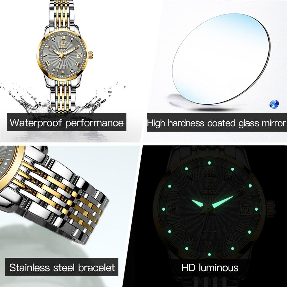 OLEVS Luxury Brand Automatic Mechanical Watches Women Steel Watch Band Watch Waterproof Simple Clock For Women Gift for Women enlarge