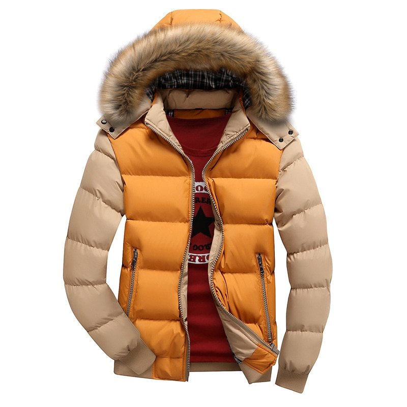 Men's Winter Jackets Thick Hooded Fur Collar Parka Men Coats Casual Padded Mens Jacket Male Clothing Winter Padded Coat