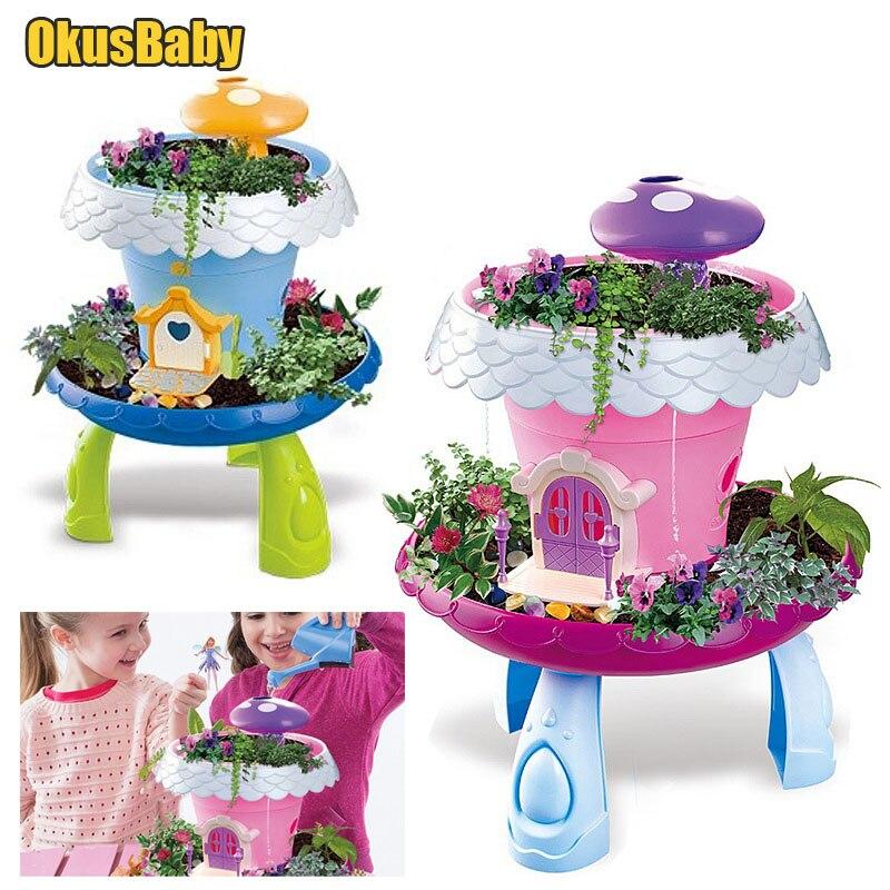 Diy montado luzes do jardim brinquedo crianças flor casa de campo crianças educacional plantas reais decoração brinquedos pote cultura brinquedo gilr