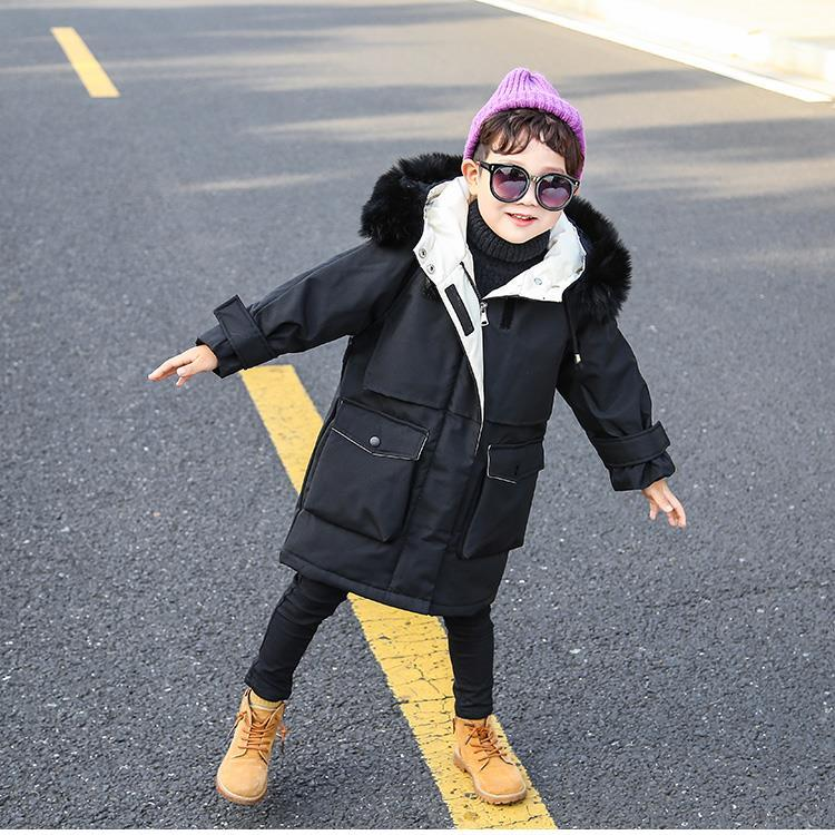 2020 Autumn Winter Fashion Children Down Cotton Jacket Boys Clothing Kids Clothes Warm Thick Parka Fur Collar Hooded Coats W596 enlarge