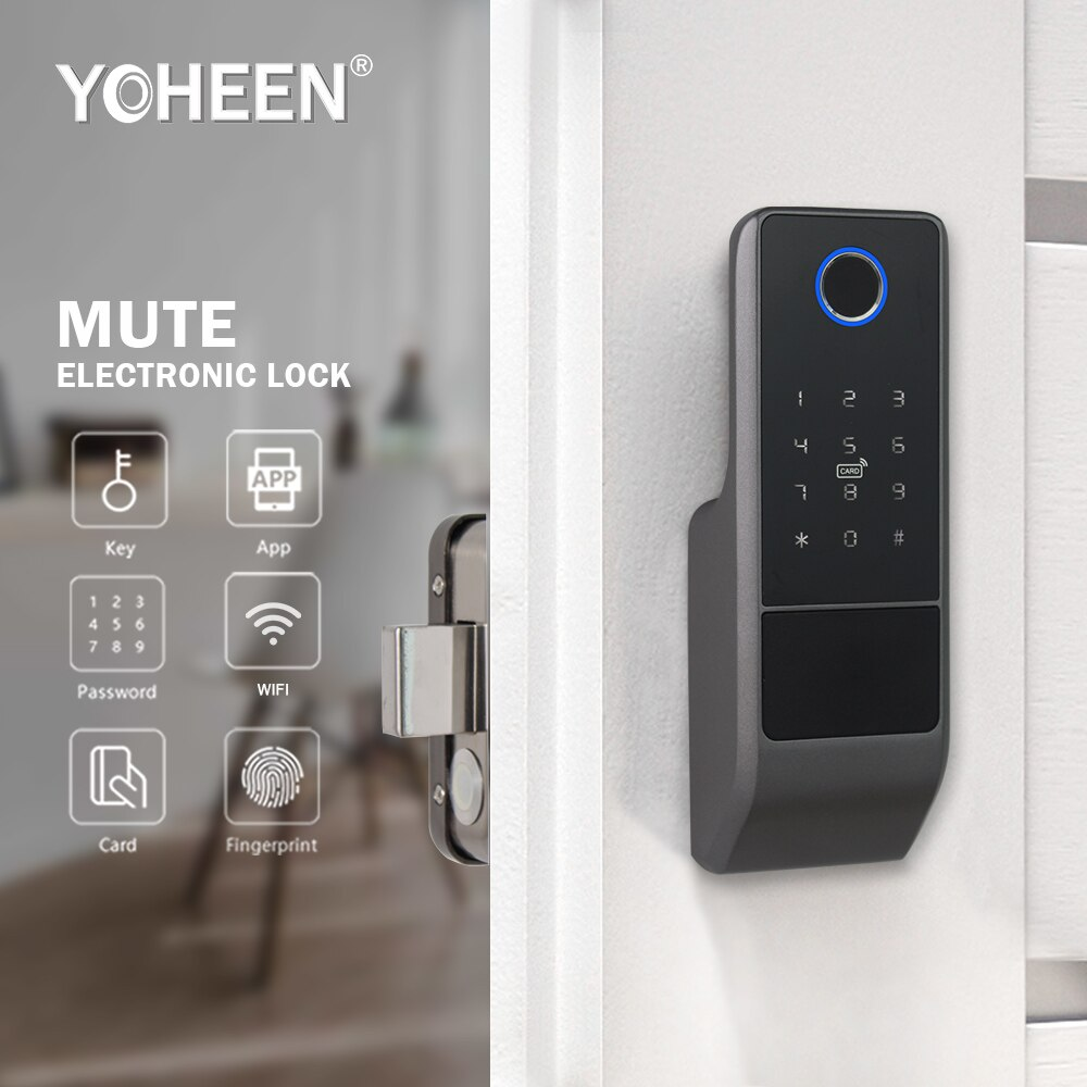 Waterproof Tuya Smart Life Wifi App Electric Smart Fingerprint Rim Door Lock For Outdoor Gate Front Door.