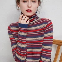 turtleneck cashmere sweater women national stylecasual paragraph long sleeve sweater chromatic colour pullover sweater