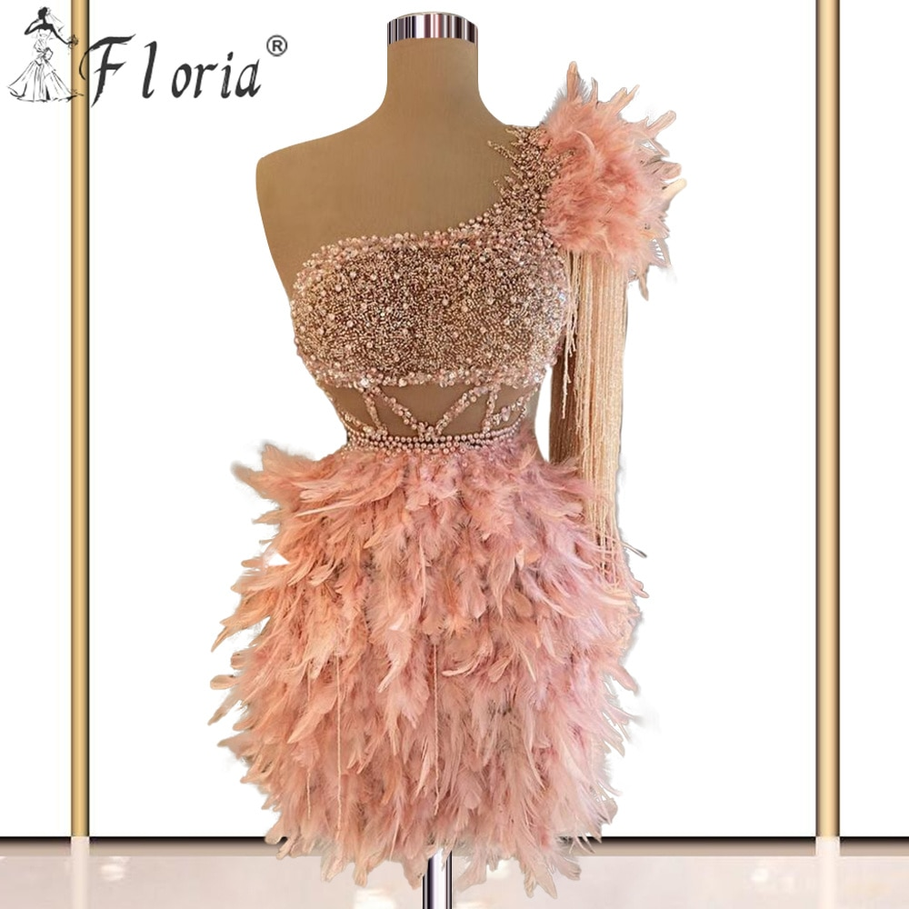 Sexy Pink Feathers Cocktail Dresses Mini Short Evening Prom Dress 2020 Beads Formal Graduation Party Gowns De Soiree Curto Vest