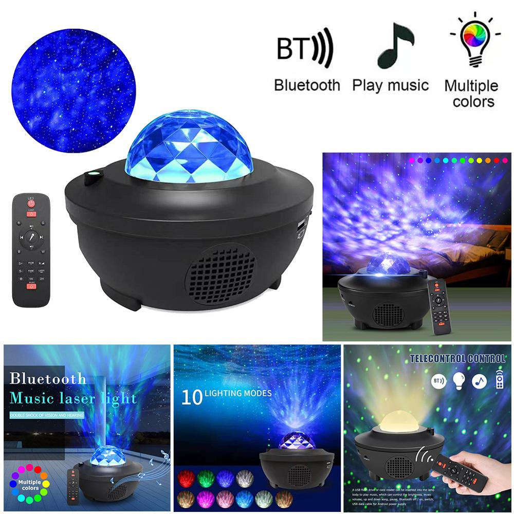 Colorful Starry Galaxy Projector Blueteeth USB Voice Control Music Player Led Night Light Party Holidays Dating Projection Lamp