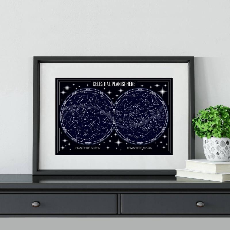 Affiches de peinture sur toile, impression de Constellations minimalistes géométriques sur le plan des corps célestes, tableau dart mural, décoration de maison