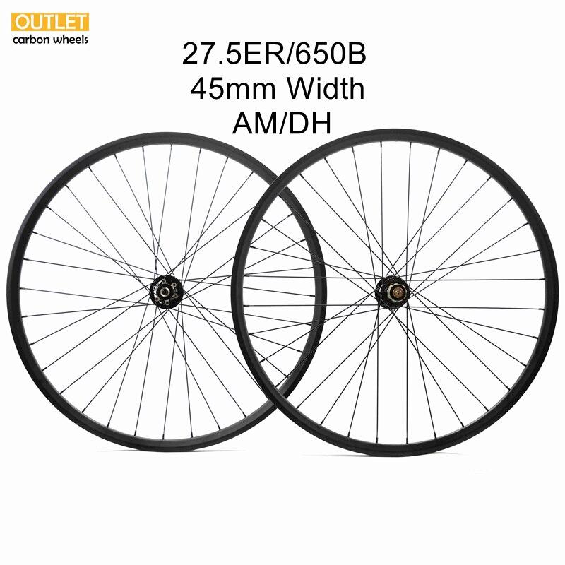 650B MTB DH bicicleta de montaña descendente 45mm x 25mm Juego de ruedas de carbono sin cámara clincher