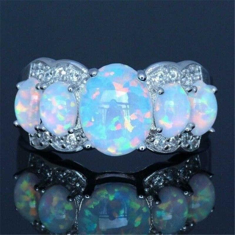 Moda exageración grande color plata blanco ópalo de fuego anillo de boda anillo de compromiso mujeres joyería regalos