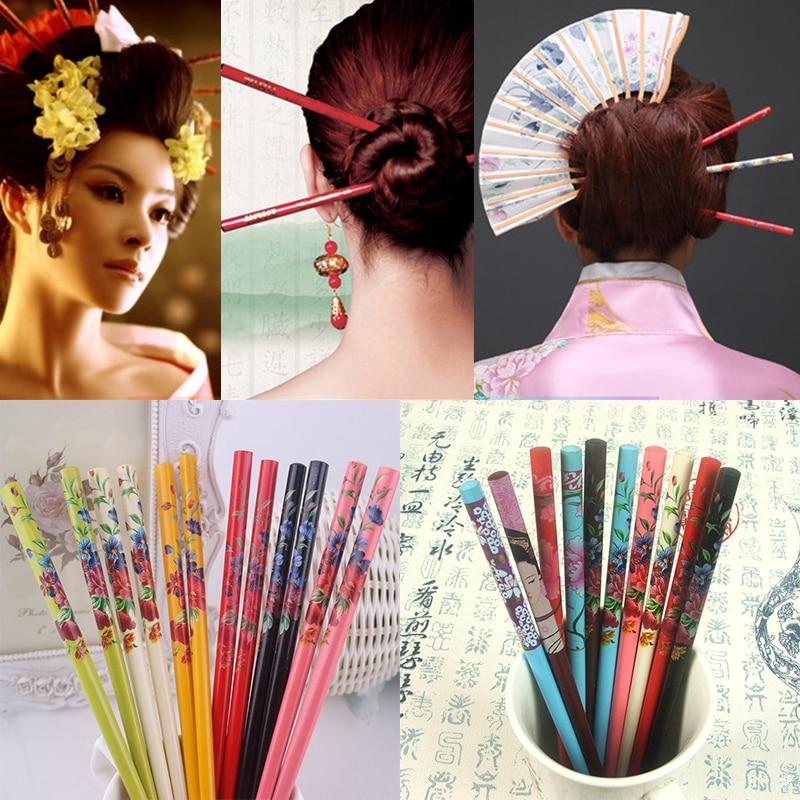 Estilo étnico flor 2 uds hecho a mano colorido Natural madera Vintage pintura horquilla de pelo de la impresión de la novia japonesa horquilla