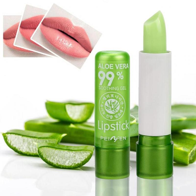 Natural Aloe Vera Lip Balm Temperature Color Changing Long Lasting Moisturizing Lipstick Makeup Lips Protection Makeup недорого