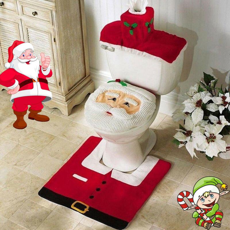 3Pcs Christmas Toilet Seat & Cover Santa Claus Bathroom Mat Xmas Decoration Bathroom Santa Toilet Seat Cover Rug Home Decoration
